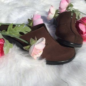 Clark's Brown Comfort Leather Chunky Heel Mules